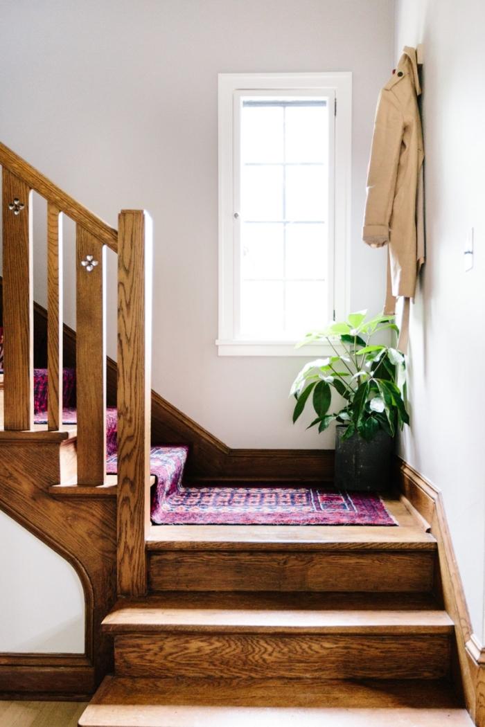 design intérieur aux accents ethniques, idée comment personnaliser un vieux tapis, plantes vertes pour déco intérieure