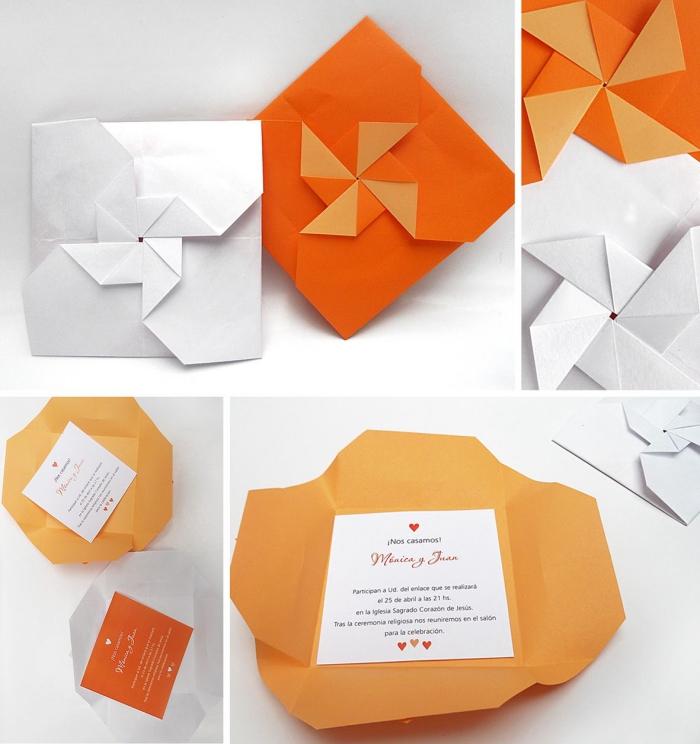 jolie enveloppe origami moule à vent pour accueillir un faire-part mariage ou une carte d'invitation