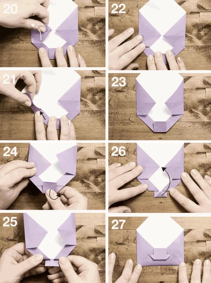 technique de plis pour fabriquer une enveloppe à motif noeud de papillon à partir d'une feuille carrée