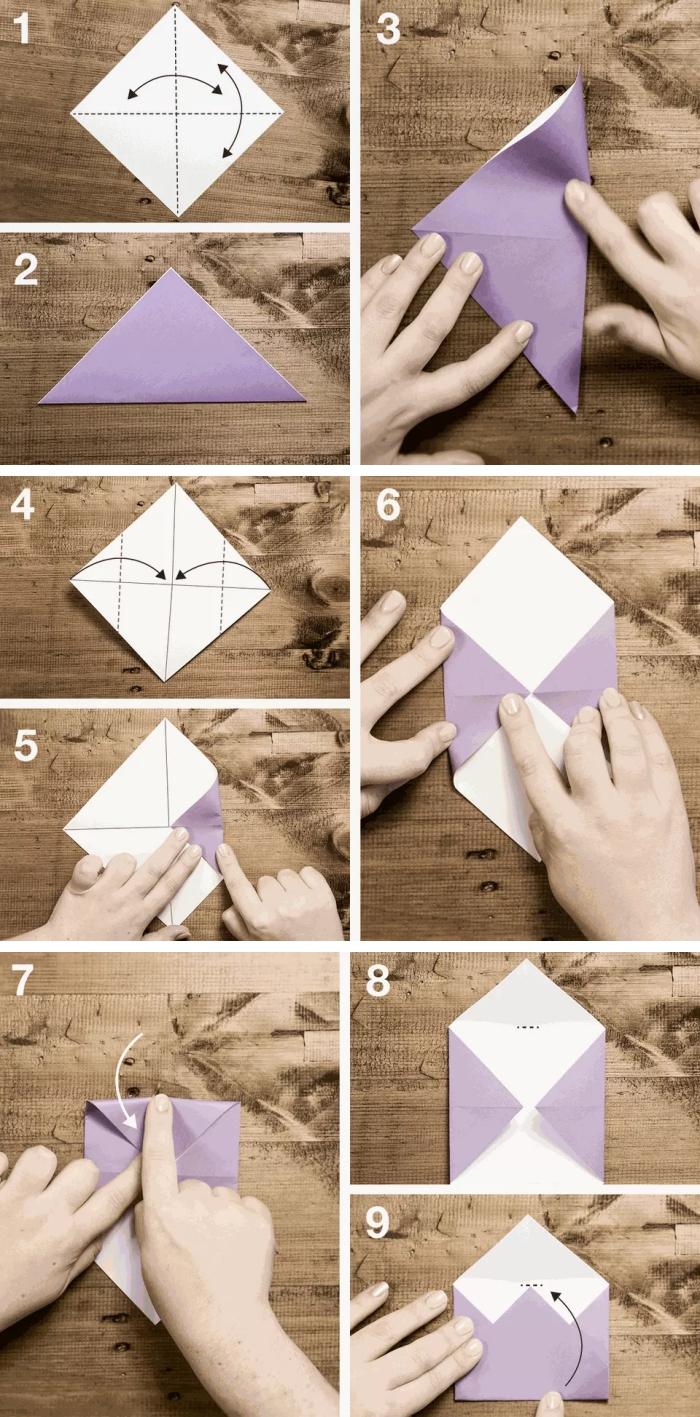 comment faire une enveloppe en papier en forme de noeud papillon, les étapes de pliage origami en photos