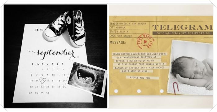 exemple de faire part naissance fait main, calendrier annonce bébé, enveloppe personnalisée pour annoncer la naissance de bébé