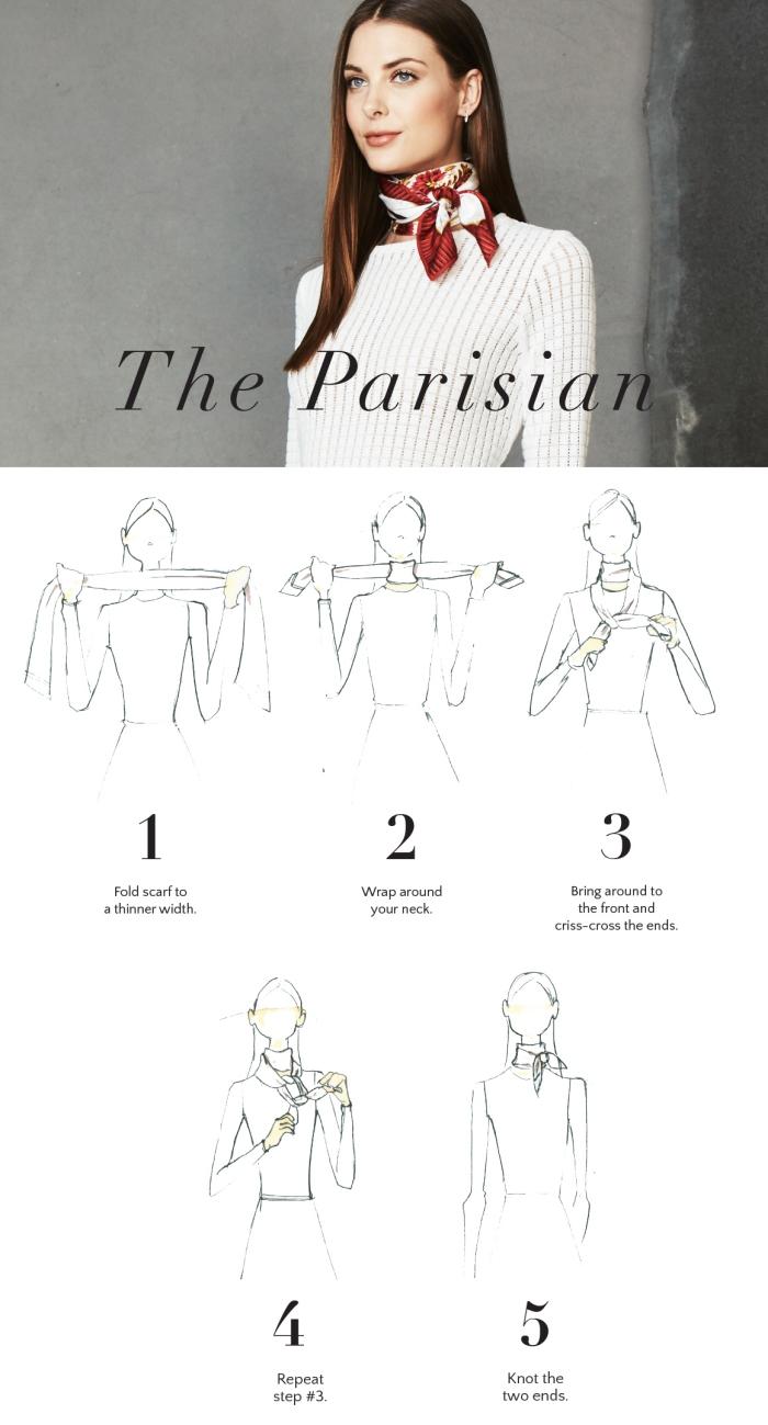 apprendre à nouer une écharpe autour du cou, tutoriel avec la technique de nouage foulard façon style parisien