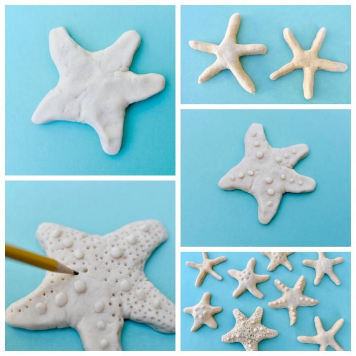 recette pate a sel facile sans cuisson, réaliser de jolis modèles d'étoiles en pâte à sel avec une décoration facile