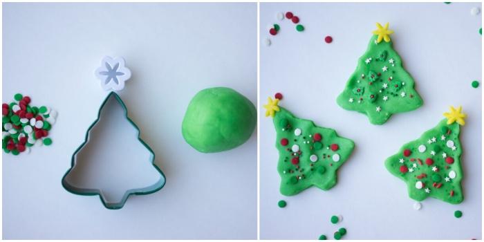 bricolage de noel facile pour s'amuser avec les enfants, sapins de noel découpés dans de la pâte à modeler maison teintée vert avec une décoration en sucre