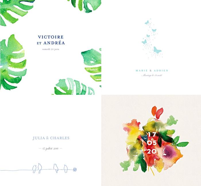 modèle invitation mariage simple aux motifs nature, carte invitation mariage à design fleurs aquarelles, idée faire part avec dessin