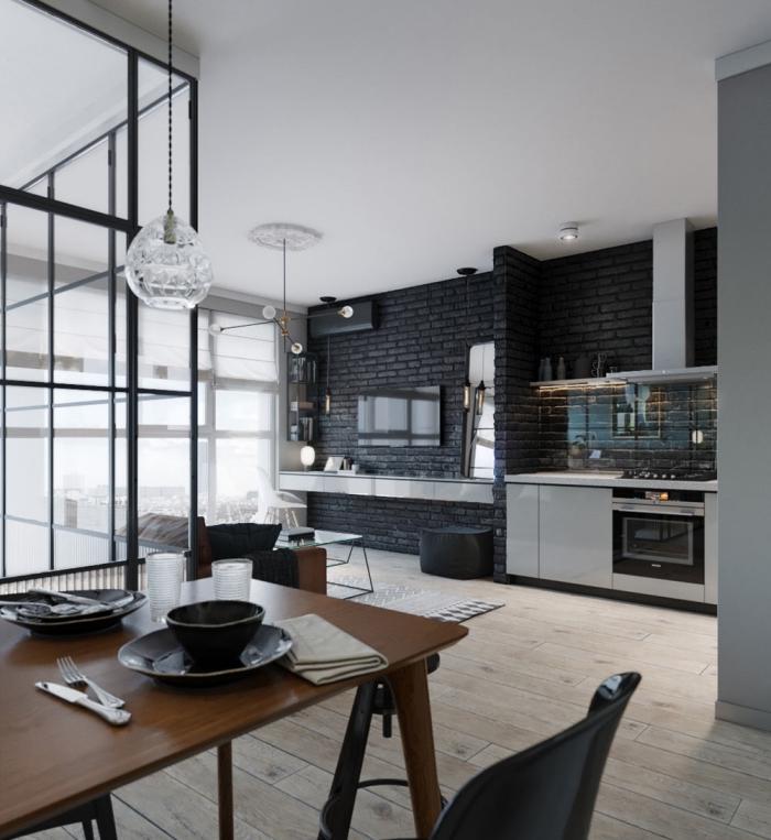 comment décorer un mur dans la cuisine, exemple de cuisine moderne en noir et gris avec parquet bois clair
