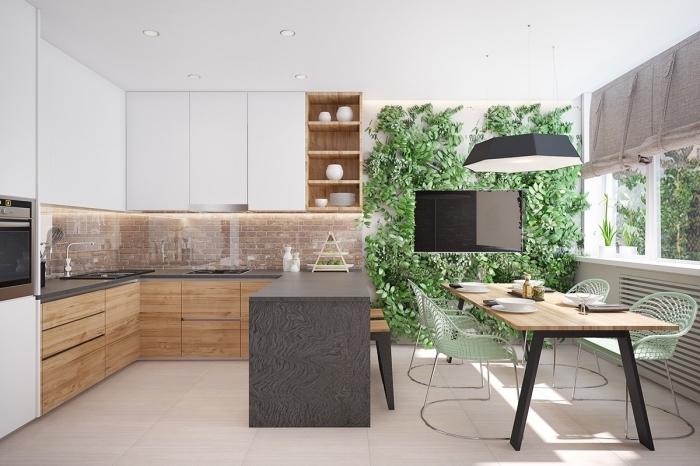 modele de cuisine contemporaine aux lignes épurées et couleurs neutres avec végétation, exemple cuisine en U