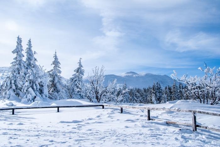 fond d écran noel avec nature dans les montagnes et plein de neige, photo magnifique de la nature en hiver