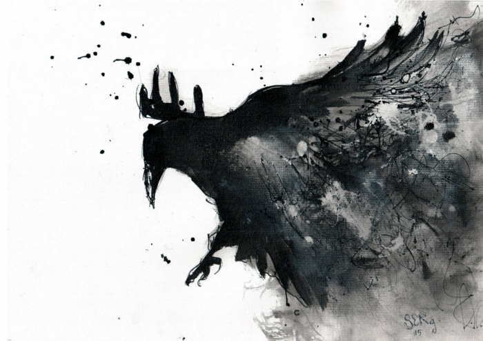 Crayon fusain dessins au fusain, dessin noir et blanc facile a reproduire, art abstrait animaux corbeau dans l'ombre de ses ailes