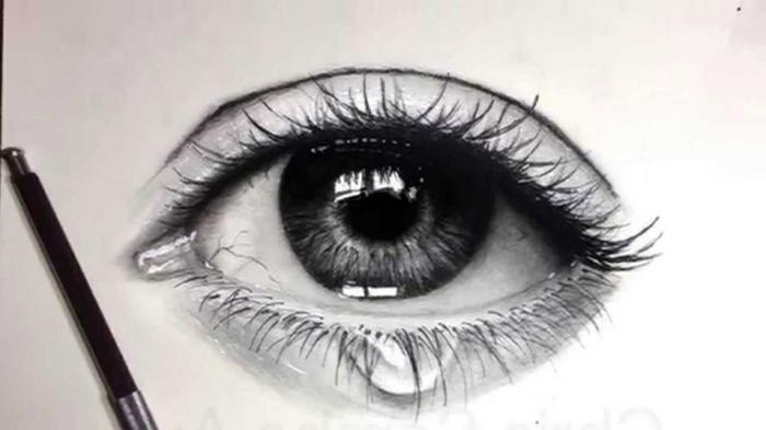 Dessiner un oeil réaliste, dessin triste realiste, part de portrait fusain, dessiner un portrait facilement pas à pas les étapes