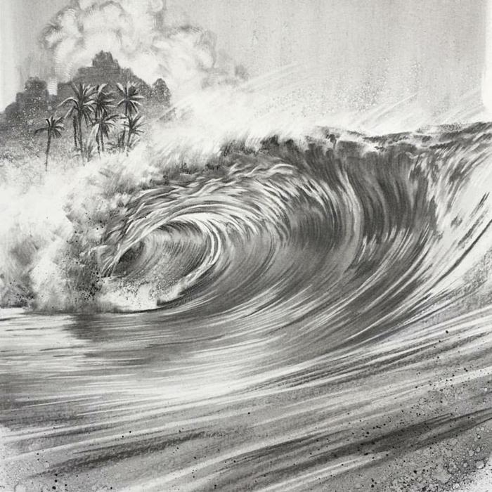 Dessin noir et blanc paysage de la nature, réproduir un dessin simple esquisse, onde et palmes