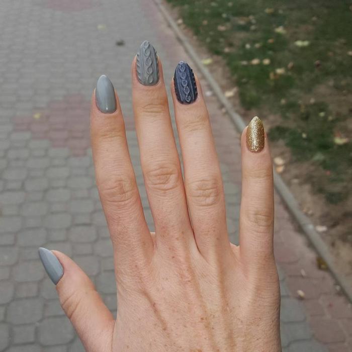 manucure motifs torsadés, ongles gris en forme amande, manucure d'hiver originale