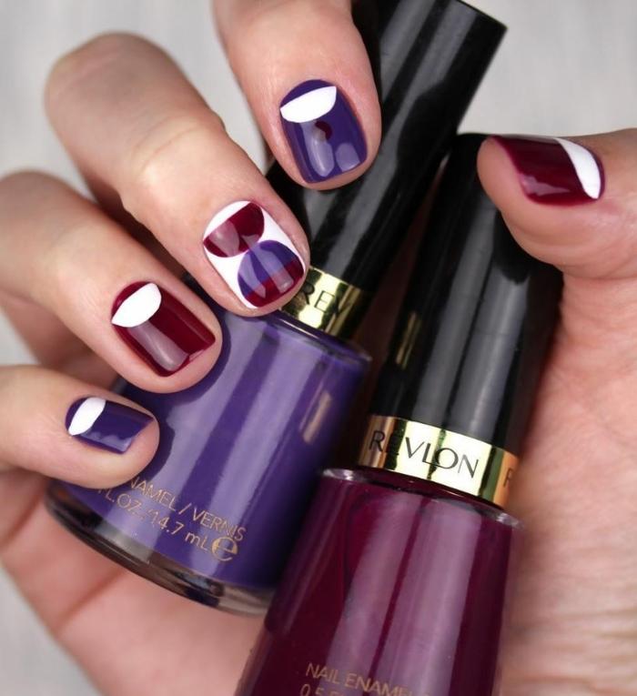 manucure sur ongle carré arrondi, deux vernis à ongles couleurs sucrées, manucure géométrique