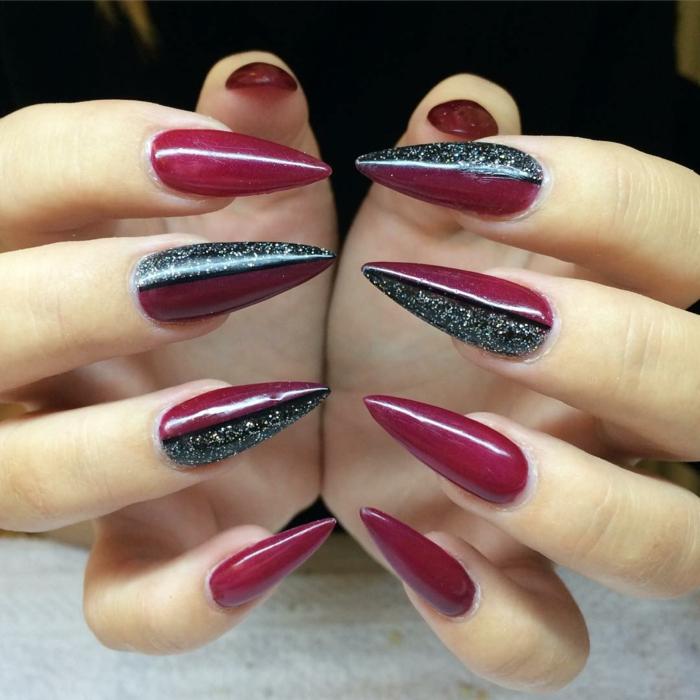 ongles pointus design extravagant, nail art en noir et pourpre, idée ongles 2018