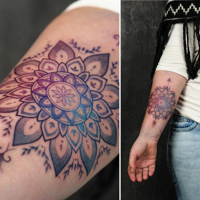Tatouage mandala coloré fleur simili, choisir mon premier tatouage, originale idée de se faire tatouer