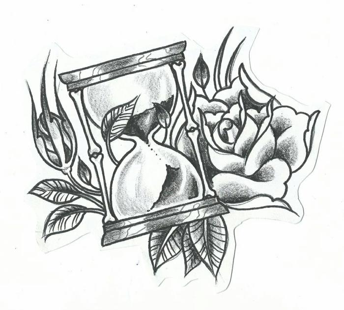 Faire un dessin pour un tatouage, dessin au fusain pour débutants a la nature morte, dessin de rose et de sablier