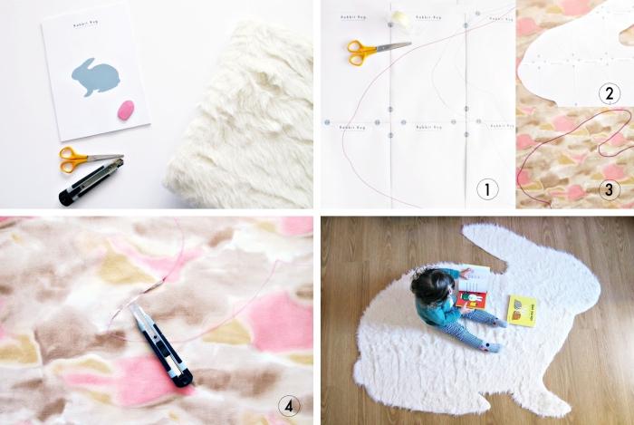 faire un tapis en fausse fourrure en forme de lapin, modèle de tapis réalisé avec un gabarit à design animal lapin