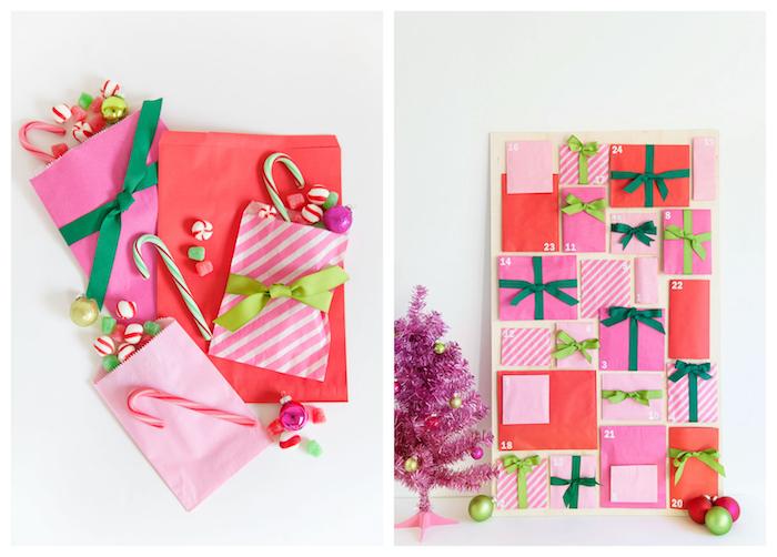panneau de bois avec des enveloppes en rose et rouge et des rubans vertes pour renfermer gourmandises et bonbons, calendrier d el avent à fabriquer, mini sapin de noel rose