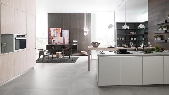 design intérieur moderne dans une cuisine spacieuse, idée cuisine avec carrelage porcelanosa, déco avec lambris mural