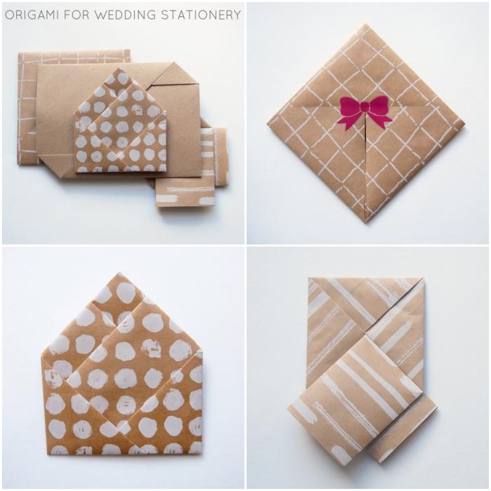 jolie papeterie de mariage originale en papier kraft, pliages origami enveloppe de formats et de tailles variés