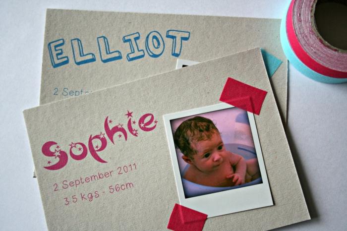 comment fabriquer un joli faire-part de naissance pas cher, modèle de carte annonce bébé avec petite photo