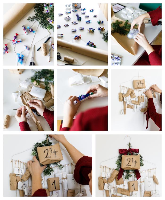 idée pour fabriquer calendrier de l avent en cintre métallique aux petits paquets dans enveloppes kraft numérotées, ruban rouge bordeaux sur mur blanc