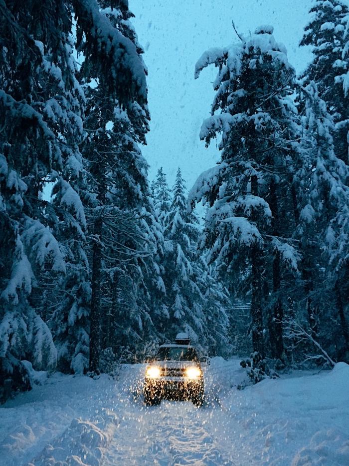 paysage hiver dans une forêt enneigée, idée wallpaper iphone gratuit sur le thème neige, photo voiture dans une forêt couverte de neige