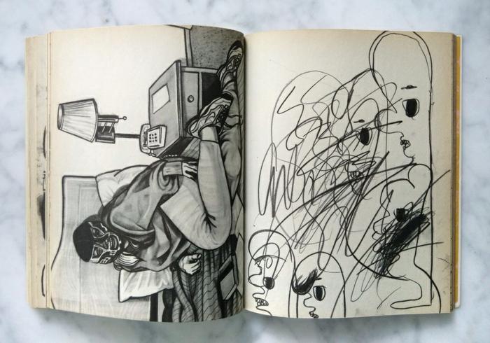 Sketch book avec dessins au fusain, dessin facile a reproduire soi même sur une feuille, essayer les techniques de fusain soi meme