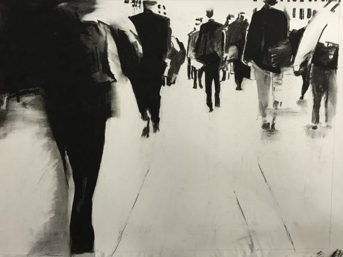 Comment dessiner au fusain idée dessin fusain, dessin noir et blanc facile d'une photo, ombres des gens dans la grande ville