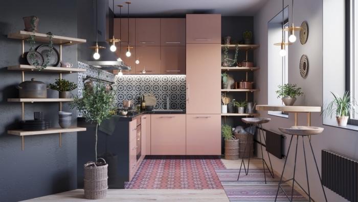 meuble rangement cuisine avec étagère bois flottante, idée couleur foncée sur mur dans une cuisine contemporaine