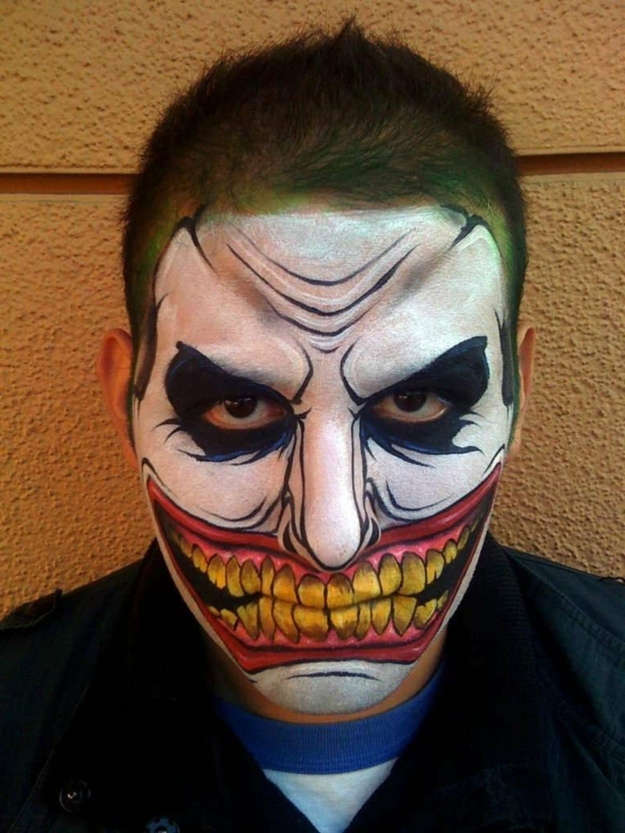 visage maquillé avec peinture à visage, dents jaunes, lèvres dessinées s'étirant jusqu'aux pommettes, yeux entourés de bleu