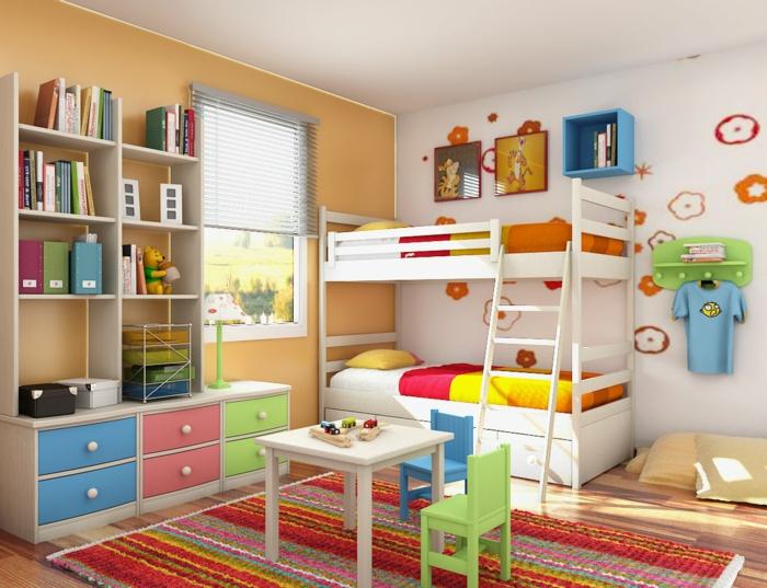 organisation des petits espaces, petite chambre pour deux enfants, lit mezzanine, bibliothèque enfant, mur beige