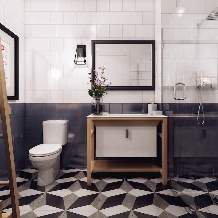 meuble salle de bain avec vasque intégrée ambiance scandinave avec sol carrelage 3d et mur bicolore blanc gris