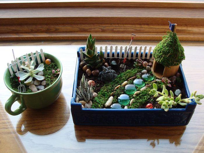 idée de petit jardin de fée avec des succulents, mousse florale, galets et petites figurines originales, les plus belles plantes d intérieur
