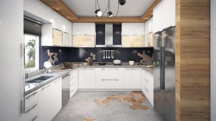 modele de cuisine moderne en couleurs neutres et accents en bois, exemple de cuisine en U avec meubles à design verre