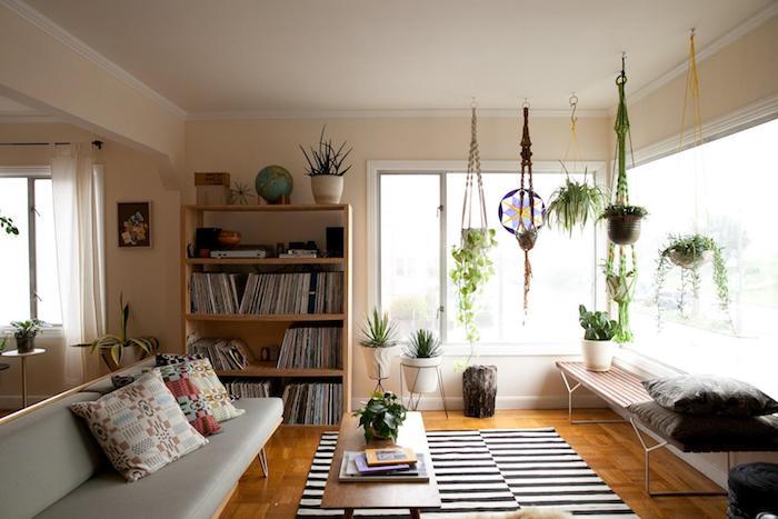 canapé gris, tapis zèbre, table basse bois, bibliothèque bois, déco salon cocooning avec plante tombante intérieur, pot de fleur macramé suspendu