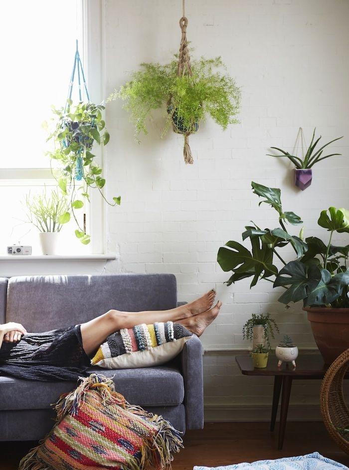 pots suspendus macramé avec plante tombante intérieur et monstera dans pot de fleur, canapé gris, coussin ethnique, salon boheme chic