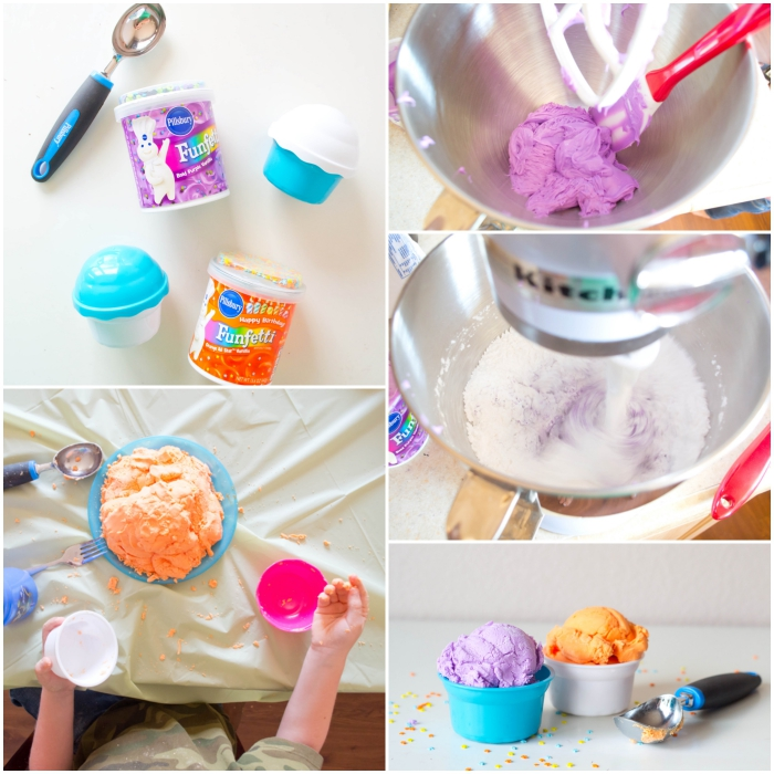 recette de play dough comestible fait maison façon glace réalisé au robot culinaire, activité de modelage créatif pour les enfants en maternelle