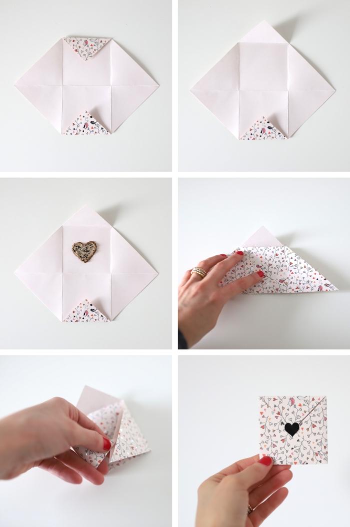 comment faire une enveloppe avec une feuille carrée imprimé bucolique, petite enveloppe carrée diy qui accueille un coeur avec graines à planter