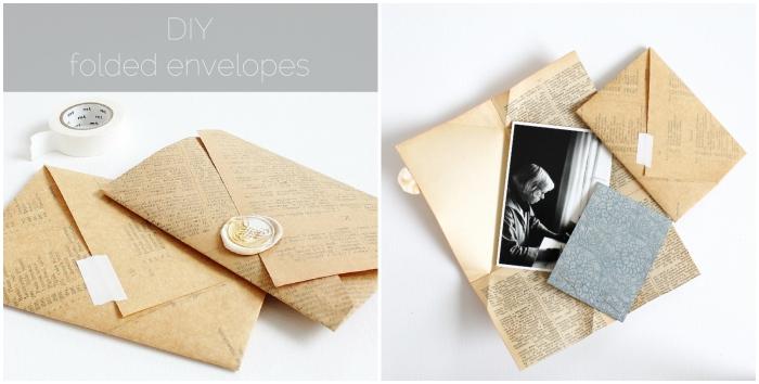 fabriquer enveloppe avec une page de livre ancien recyclée, enveloppe diy vintage avec rabat asymétrique et un joli cachet de cire