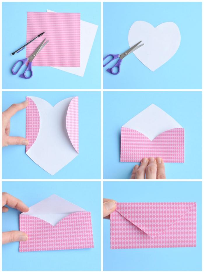 comment faire une enveloppe avec une feuille découpée en forme de coeur, enveloppe diy pour y glisser un petit mot d'amour