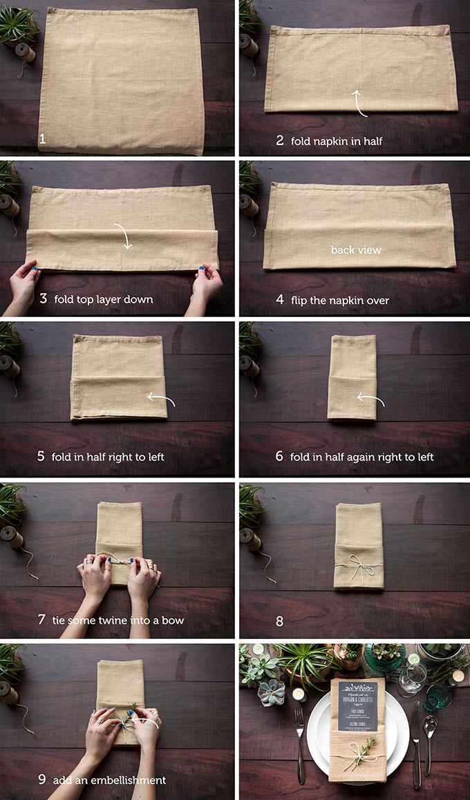 quel pliage serviette mariage, tutoriel pour realiser un pliage avec pochette pour insérer le menu, centre de table en plantes succulentes