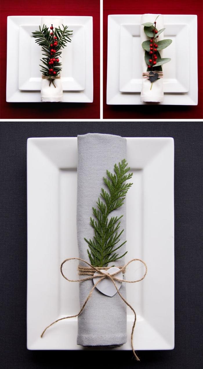 exemple comment réaliser une décoration de table de noel chic et stylé en blanc et rouge, modèle pliage serviette nouvel an