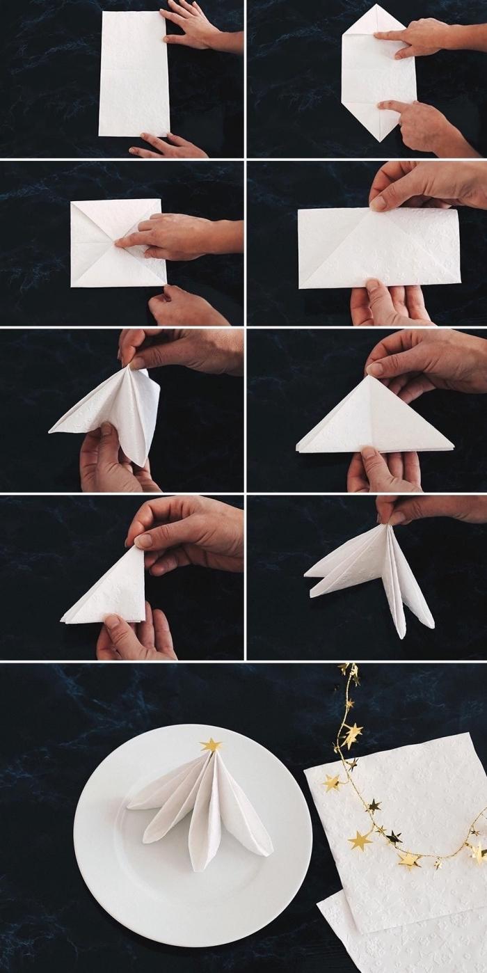 idée tuto pliage serviette papier facile, loisir créatif avec art origami, comment plier une serviette pour la fête de noel