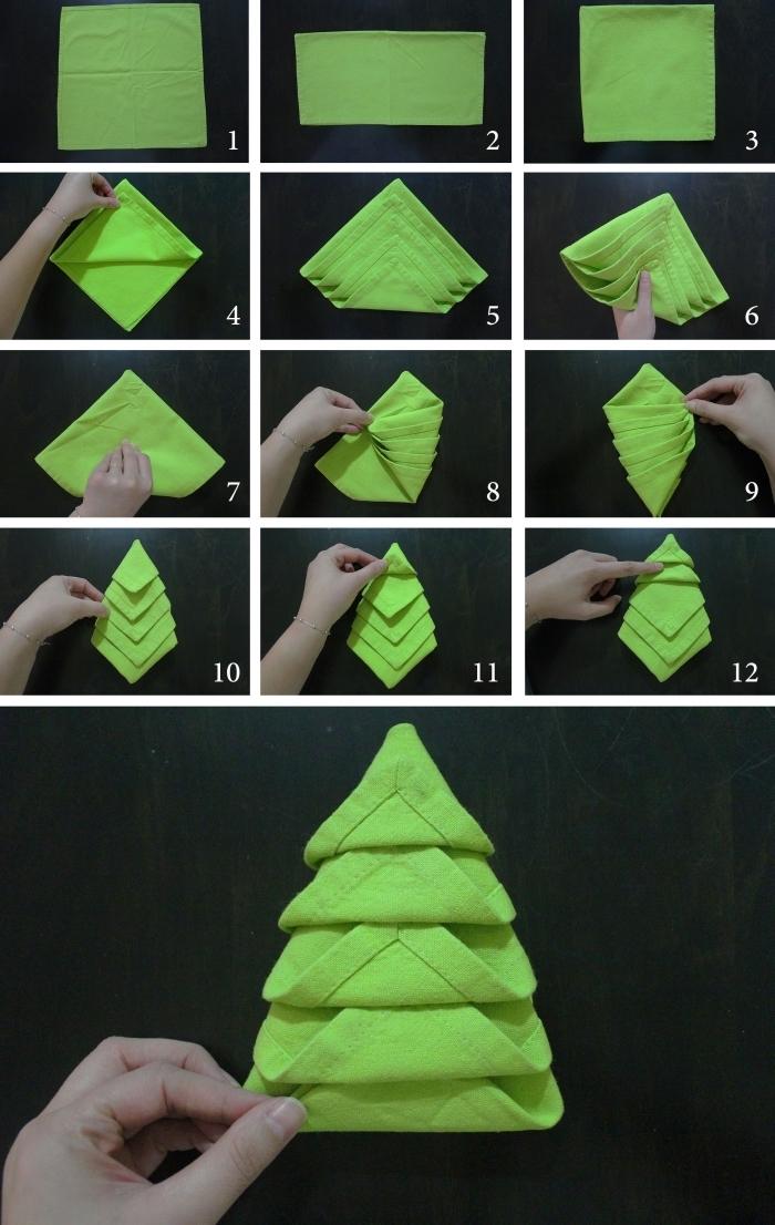 étapes à suivre pour réaliser un pliage de serviette en tissu vert en forme de sapin, loisir créatif pour fête de noel