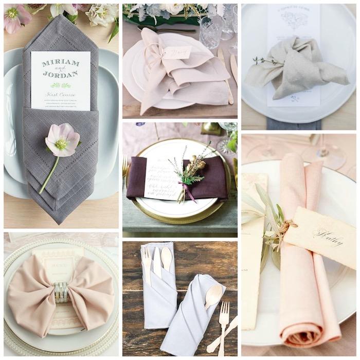 les astuces pour realiser un pliage serviette mariage original avec des serviettes en tissu décorés de fleurs anneaux, différentes techniques de plis