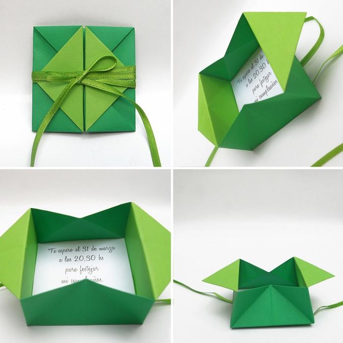 jolie boîte-enveloppe en origami qui cache à l'intérieur un faire-part de mariage, papeterie de mariage origami