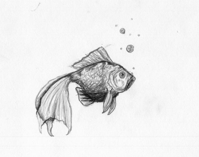 Faire un beau dessin facile a reproduire, dessin noir et blanc facile et beau, poisson dans l'eau, boules d'air dans l'eau