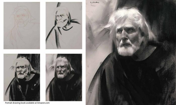 Cool idée de dessin débutant à réproduire soi meme, les dessins noir et blanc en étapes, homme expressive