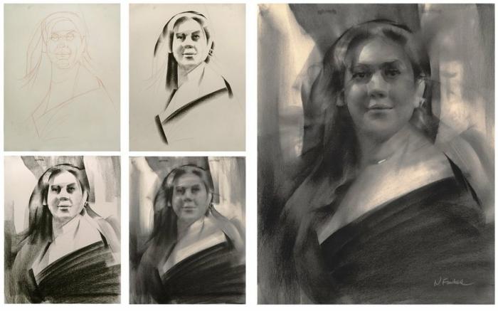 Dessin pour debutant art digital, dessin noir et blanc facile, technique pas a pas portrait de femme